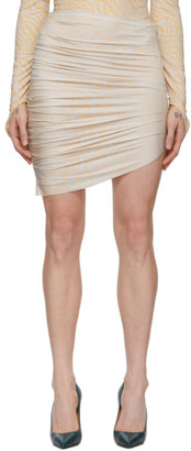 BEIGE Maisie Wilen and Blue Leopard Miniskirt