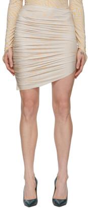 MAISIE WILEN Beige and Blue Leopard Miniskirt