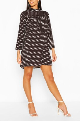 boohoo Polka Dot High Neck Smock Dress