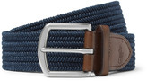 Polo Ralph Lauren - 3.5cm Navy Leather-trimmed Woven Belt