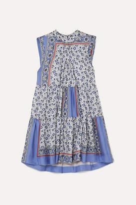 Chloé Tiered Printed Silk-twill Mini Dress - Blue