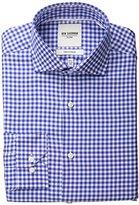 Ben Sherman Men's Slim Fit Twill Gingham Spread Collar Dress Shirt