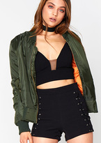 Missy Empire Alexus Khaki Zip Up Bomber Jacket