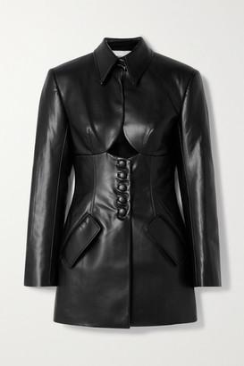 ALEKSANDRE AKHALKATSISHVILI Cutout Faux Leather Mini Dress - Black