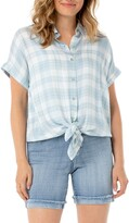 Liverpool Plaid Tie Front Short Sleeve Button-Up Shirt