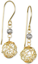 Macy's Wire Bead and Crystal Drop Earrings in 10k Gold