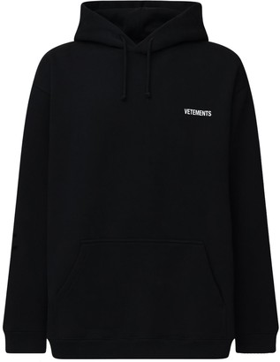 Vetements Logo Print Cotton Blend Hoodie