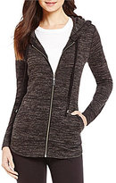 Westbound Open Neck Long Sleeve Zip Front Hi-Low Solid Hoodie