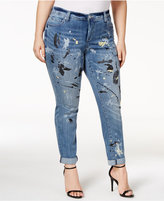 INC International Concepts Plus Size Painted Indigo Wash Boyfriend Jeans, Only at Macy's