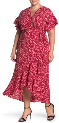 Max Studio Short Sleeve Wrapped Midi Dress (Plus Size)