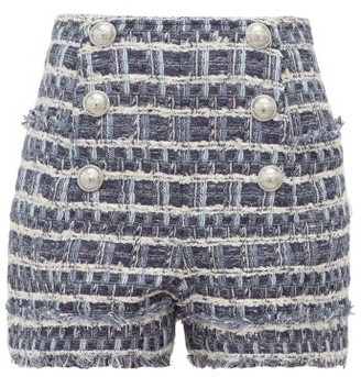 Balmain Buttoned Tweed Shorts - Womens - Blue White