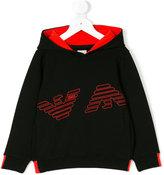 Armani Junior logo embossed hoodie