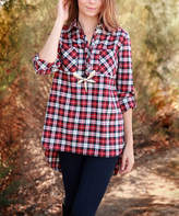 Lily Red & Black Plaid Pocket Button-Front Top - Plus Too