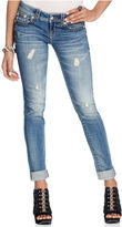 Miss Me Jeans, Skinny Medium-Wash Distressed Stitched