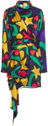 Ronny Kobo Draped Silk-blend Satin-jacquard Mini Dress