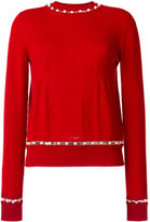 Givenchy faux pearl trim jumper - women - Silk/Cashmere/Wool - S