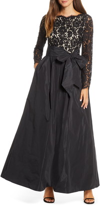 Eliza J Long Sleeve Lace Ballgown