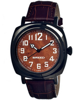 Breed Black & Brown Mozart Leather-Strap Watch