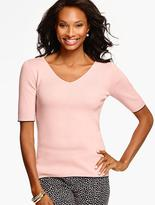 Talbots Double V-Neck Sweater with Tipping