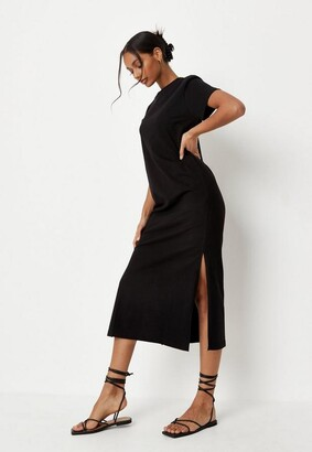 Missguided Black Basic Midi T Shirt Dress