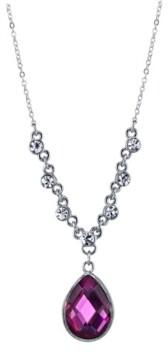 "2028 Silver-Tone Amethyst Purple Color Teardrop Pendant Necklace 16"" Adjustable"