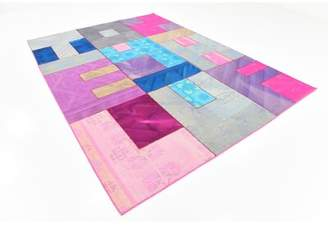 """Marlow Isabelline One-of-a-Kind Hand-Knotted 7'3"""" x 10' Wool Gray/Pink/Blue Area Rug Isabelline"""