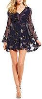 J.o.a. Long Bell Sleeve Floral Burnout Velvet Fit-and-Flare Dress