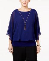 MSK Plus Size Flutter-Sleeve Necklace Top