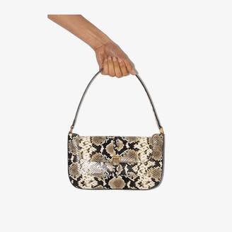BY FAR beige Miranda snake effect leather shoulder bag