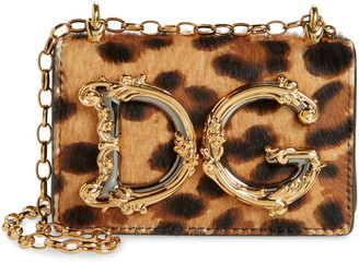 Dolce & Gabbana Micro Leopard Genuine Calf Hair & Leather Crossbody Pouch