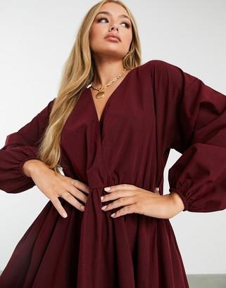 ASOS DESIGN casual cotton poplin wrap front mini smock dress in oxblood
