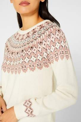 Esprit Womens Natural Jacquard Pattern Sweater - Natural