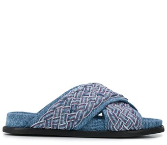 Philosophy di Lorenzo Serafini Interwoven Denim-Strap Sandals