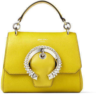 Jimmy Choo MADELINE TOP HANDLE /S Citrus Goat and Calf Leather Top Handle Bag with Crystal Buckle