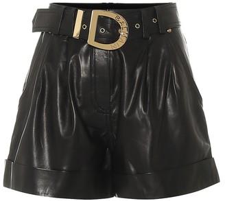 Balmain High-rise leather shorts