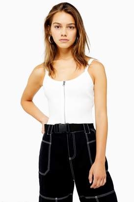 Topshop Womens Petite Zip Front Vest - White