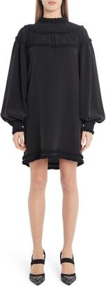 Fendi Ruffle Yoke Long Sleeve Silk Crepe de Chine Minidress