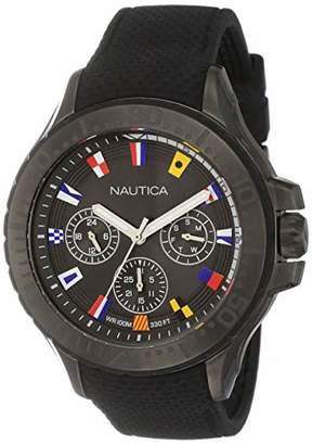 Nautica Men's Auckland Stainless Steel Quartz Sport Watch with Silicone Strap