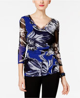 INC International Concepts Ruched Floral-Print Top, Only at Macy's