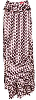 Christian Lacroix Multicolor Printed Silk Ruffle Detail Maxi Skirt L