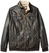 Levi's Men's Size Vintage Deer Faux Leather Aviator Bomber with Full Sherpa Lining