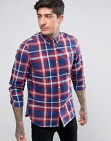Fred Perry Tartan Long Sleeve Shirt In Red
