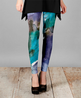 Lily Teal & Purple Watercolor Slim-Fit Pants - Plus Too