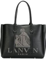 Lanvin studded logo fringed tote