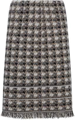 D-Exterior D.Exterior Fringe Tweed Skirt