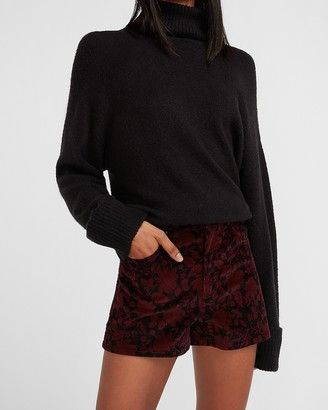 Express High Waisted Floral Velvet Shorts