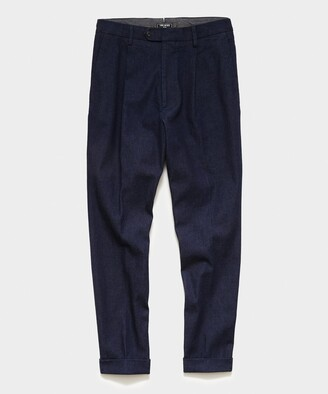 Todd Snyder Japanese Denim Pleated Pant in Indigo