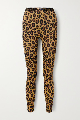 Adam Selman Sport Bonded Velvet-trimmed Leopard-print Stretch Leggings - Leopard print