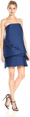 Halston Women's Strapless Tiered Embroidery Detail Dress