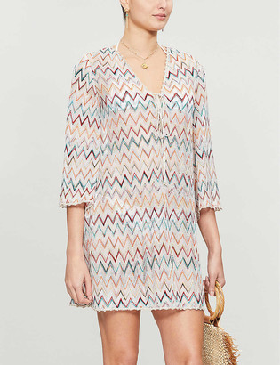 Missoni V-neck metallic-knit beach dress
